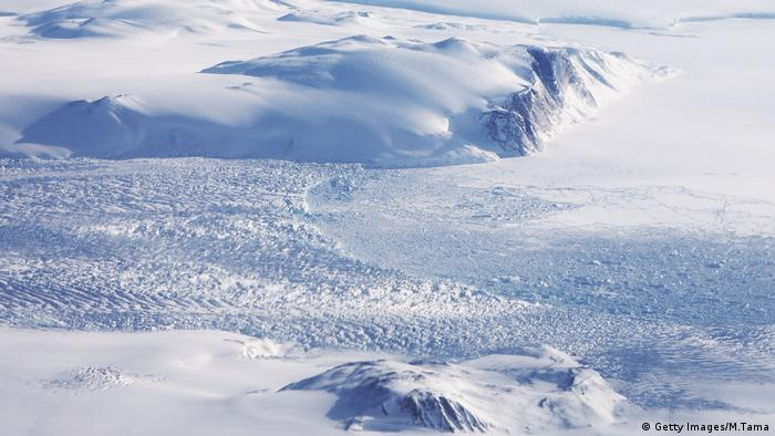 A glacier is seen from NASA's Operation IceBridge research aircraft along the Upper Baffin Bay coast above Greenland.