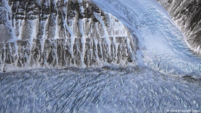 An aerial shot of a section of glacier in Greenland which is rapidly retreating due to warming temperatures