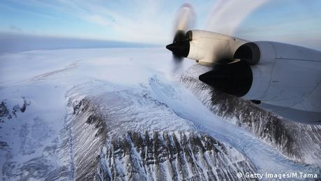 A section of a glacier in Greenland is seen from NASA's Operation IceBridge research aircraft along the Upper Baffin Bay coast on March 27, 2017.