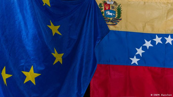 European Union and Venezuelan flags
