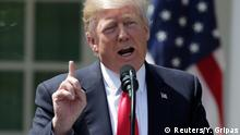 U.S. President Donald Trump speaks during a joint news conference with Jordan's King Abdullah (not pictured) in the Rose Garden after their meeting at the White House in Washington, U.S., April 5, 2017. REUTERS/Yuri Gripas