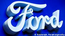 FILE PHOTO: Ford logo is pictured at the 38th Bangkok International Motor Show in Bangkok