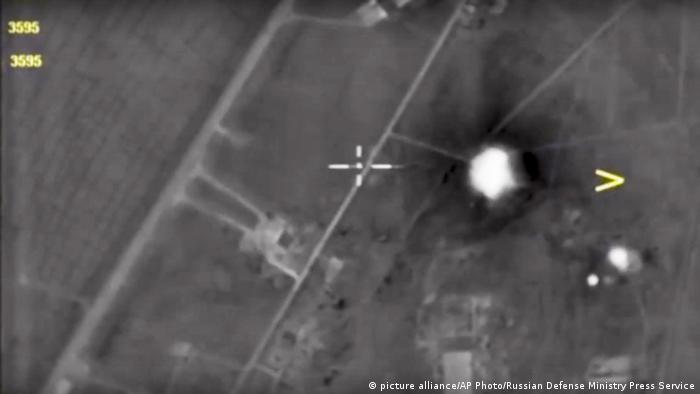 Imagen satelital de un ataque de EE .UU. en Siria. (7.04.2017).