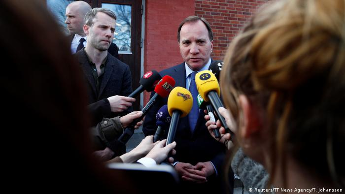 Swedish Prime Minister Stefan Lofven makes a statement in central Stockholm, Sweden April 7.