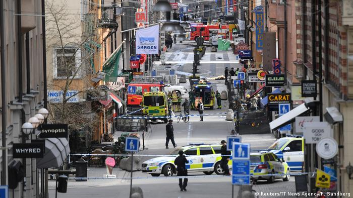 The street scene following the hijacked truck attack in Stockholm that killed five people in April 2017