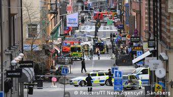 A view of the street scene after the truck crashed into a department store in Stockholm, April 7.