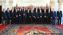 In this photo provided by the Moroccan News Agency (MAP), Morocco's king Mohammed VI, center, flaked at his left by the Crown Prince Moulay Hassan and the new Prime Minister Saadeddine Othmani at right poses with others Ministers at the king Palace in Rabat, Morocco, Wednesday April 5, 2017. Ministers from left, Mohamed Hassad Minister of National Education, Vocational Training, Higher Education and Scientific Research, Aziz Akhannouch Minister of Agriculture, Maritime Fisheries, Rural Development, and Water and Forests, unknown, Mohamed Aujjar Minister of Justice, Abdelouafi Laftit Minister of the Interior, Mustapha Ramid Minister of State for Human Rights, Crown Prince Moulay Hassan, Morocco's King Mohammed VI, Saadeddine Othmani Head of Government, Nasser Bourita Minister of Foreign Affairs and International Cooperation, Ahmed Toufiq Minister of Habous and Islamic Affairs, Mohamed Boussaid: Minister of Economy and Finance, Mohamed Nabil Benabdallah: Minister of National Planning, Urban Planning, Housing and Urban Policy, Moulay Hafid Elalamy Minister of Industry, Investment, Trade and the Digital Economy. Back Abdellatif Loudiyi minister delegates to the head of the government in charge of the administration of national défense, 4th Bassima El Hakkaoui: Minister of Family, Solidarity, Equality and Social Development, 7th Rachid Talbi Alami: Minister of Youth and Sports, 9th Mohamed Najib Boulif, Secretary of State to the Minister of Equipment, Transport, Logistics and Water, in charge of transport, Aziz Rabbah Minister of Energy, Mines and Sustainable Development, 12th - Abdelkader Amara Minister of Equipment, Transport, Logistics and Water 14th Mustapha El Khalfi Minister delegated to the head of the government in charge of relations with the parliament and the civil society, spokesman of the government, El Houcine Louardi Minister of Health, Mohamed Sajid: Minister of Tourism, Air Transport, Crafts and Social Economy, Mohamed Ben Abdelkader: Minister Delegate |