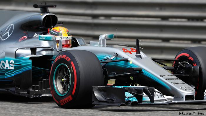 Mercedes driver Lewis Hamilton of Britain drives during the third practice session at the Shanghai International Circuit (Reuters/A. Song)