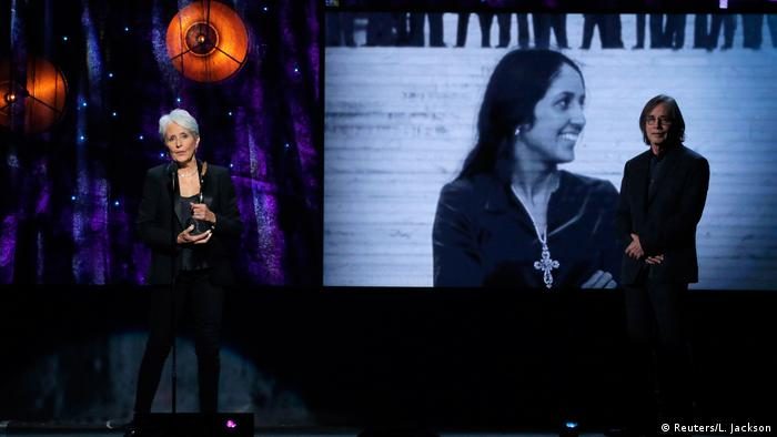 Joan Baez is inducted into the Rock & Roll Hall of Fame Hall in 2017