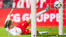 Leipzig´s Danish forward Yussuf Poulsen scores the first goal during the German first division Bundesliga football match RB Leipzig v Bayer 04 Leverkusen in Leipzig, on April 8, 2017. / AFP PHOTO / ROBERT MICHAEL / RESTRICTIONS: DURING MATCH TIME: DFL RULES TO LIMIT THE ONLINE USAGE TO 15 PICTURES PER MATCH AND FORBID IMAGE SEQUENCES TO SIMULATE VIDEO. == RESTRICTED TO EDITORIAL USE == FOR FURTHER QUERIES PLEASE CONTACT DFL DIRECTLY AT + 49 69 650050 / RESTRICTIONS: DURING MATCH TIME: DFL RULES TO LIMIT THE ONLINE USAGE TO 15 PICTURES PER MATCH AND FORBID IMAGE SEQUENCES TO SIMULATE VIDEO. == RESTRICTED TO EDITORIAL USE == FOR FURTHER QUERIES PLEASE CONTACT DFL DIRECTLY AT + 49 69 650050 (Photo credit should read ROBERT MICHAEL/AFP/Getty Images)