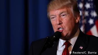 US President Donald Trump delivers a statement