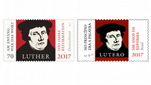 Bildkombo Briefmarke Luther Deutschland Brasilien