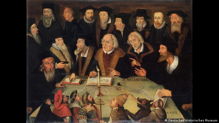 Martín Lutero en medio de reformadores.