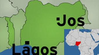 A map of Nigeria with Jos and Lago marked on it