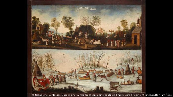 Painting of nothern Lapland from before 1668, painter unknown (Staatliche Schlösser, Burgen und Gärten Sachsen, gemeinnützige GmbH, Burg Kriebstein/Punctum/Bertram Kobe)