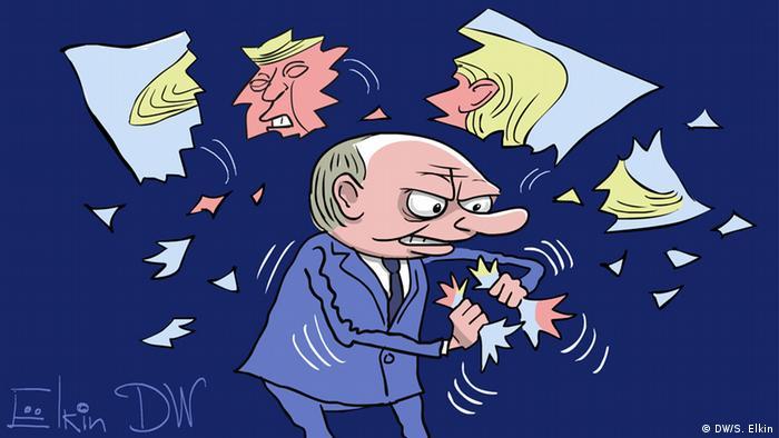 Владимир Путин разрывает фотографию Трампа на клочки - карикатура Сергея Елкина