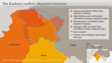 Karte Infografik The Kashmir conflict - disputed territories