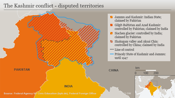 Karte Infografik The Kashmir conflict - disputed territories