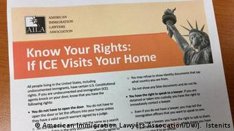USA illegale Migranten Know Your Rights Card