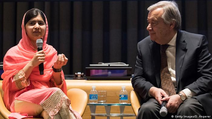 USA Malala Yousafzai und Antonio Guterres in New York (Getty Images/D. Angerer)
