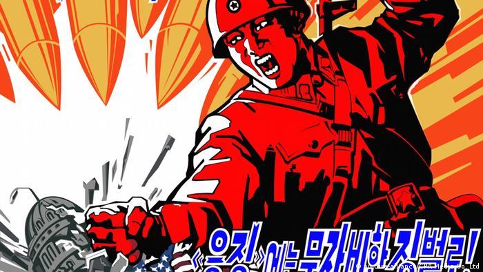 Nordkorea Anti-USA Propagandaposter