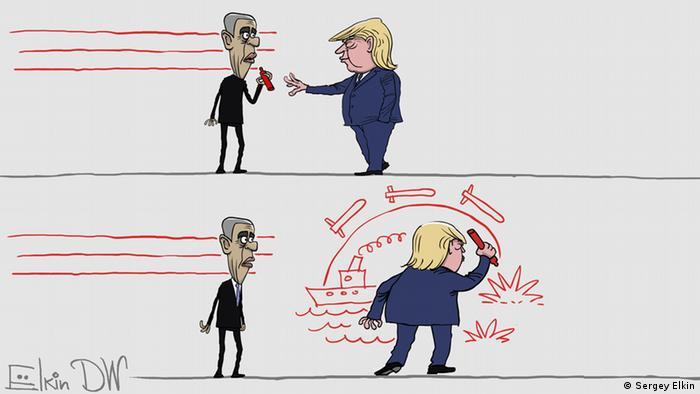 Трамп забирает карандаш у Обамы, который рисовал красные линии, и всместо их нарисовал запуск ракет