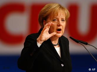 German Chancellor Angela Merkel at a conference of her conservative party