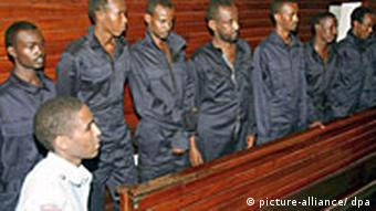 Eight suspected Somali pirates in law courts in Mombasa, Kenya