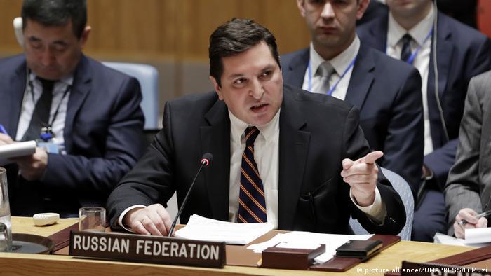 Владимир Сафронков на заседании Совета Безопасности ООН в Нью-Йорке 12 апреля 2017