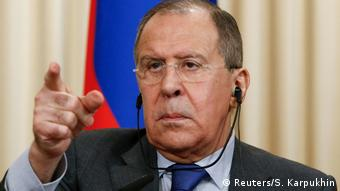 Sergey Lavrov gestures during a speech (Reuters/S. Karpukhin)