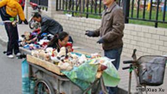 Ein fliegender Händler am Dreirad