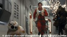 This image released by Lucasfilm shows Oscar Isaac as Poe Dameron in a scene from the upcoming Star Wars: The Last Jedi, expected in theaters in December. (Industrial Light & Magic/Lucasfilm via AP)  