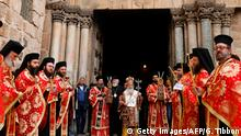 April 13, 2017*** Greek Orthodox Patriarch of Jerusalem Theophilos III (C) leads the traditional Washing of the Feet ceremony during the Holy Thursday (Maundy Thursday) Easter procession at the Church of the Holy Sepulchre in Jerusalem's Old City on April 13, 2017. / AFP PHOTO / GALI TIBBON (Photo credit should read GALI TIBBON/AFP/Getty Images)