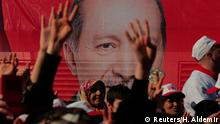 Erdogan poster and supporters (Reuters/H. Aldemir)