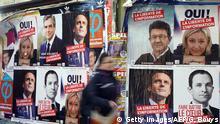 Frankreich Wahlplakate der Präsidentschaftskanditaten 2017