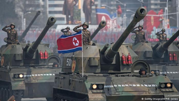 Korean People's Army (KPA) tanks are displayed during a military parade
