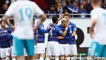 DARMSTADT, GERMANY - APRIL 16: Mario Vrancic of Darmstadt celebrates his team's first goal with team mates during the Bundesliga match between SV Darmstadt 98 and FC Schalke 04 at Stadion am Boellenfalltor on April 16, 2017 in Darmstadt, Germany. (Photo by Alex Grimm/Bongarts/Getty Images)