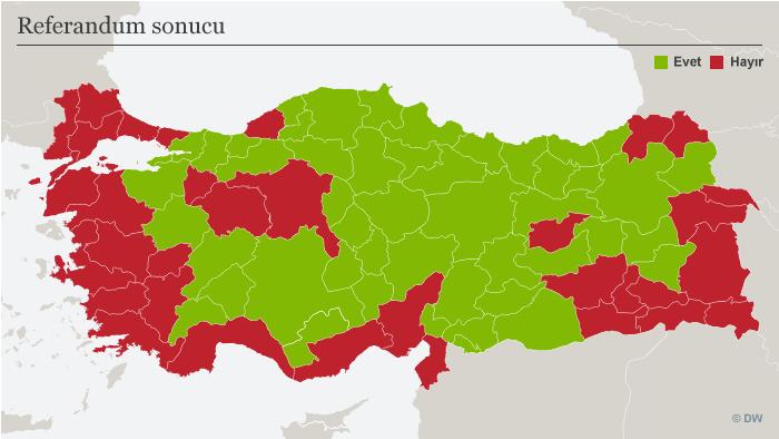 Karte Türkei Referendum Abstimmungsergebnis nach Wahlkreisen TUR