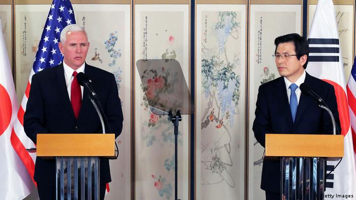Südkorea Besuch US Vizepräsident Mike Pence PK mit Hwang Kyo Ahn (Getty Images)