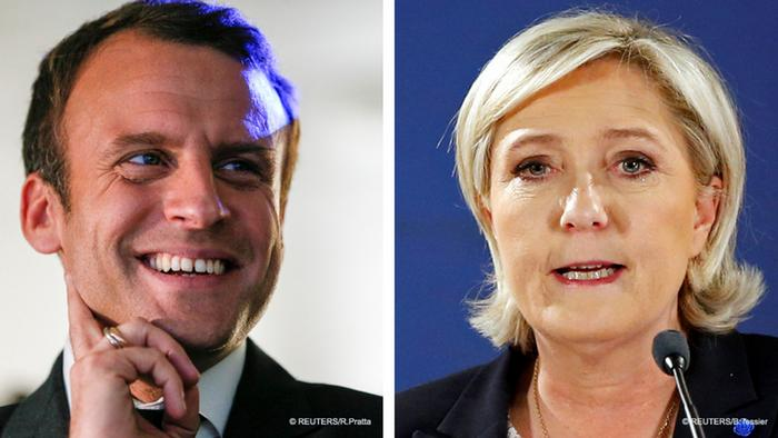 Emmanuel Macron, head of the political movement En Marche !, or Onwards ! and Marine Le Pen, French National Front (FN) political party leader.