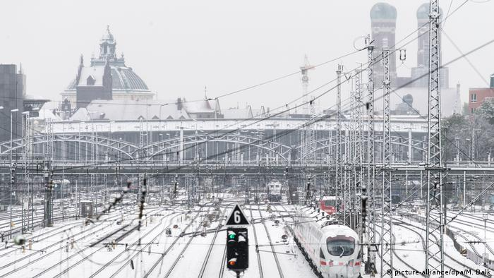 Snow-covered central station in Munich