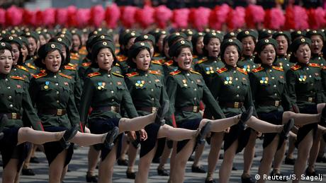 North Korean soldiers march during a military parade marking the 105th birth anniversary of the country's founding father Kim Il Sung in Pyongyang, North Korea