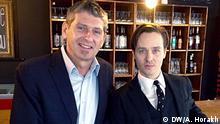 DW KINO-Moderator Hans Christoph von Bock und Schauspieler Tom Schilling