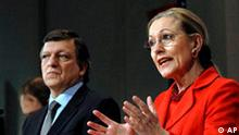 European Union Commissioner for External Relations Benita Ferrero-Waldner from Austria, right, gestures while talking to the media during a joint press conference with EU Commission President Jose Manuel Barroso, left, at the EU Commission headquarter in Brussels, Wednesday Dec. 3 , 2008. The EU Commission's proposal for a new Eastern Partnership represents a step change in the EU's relations with Armenia, Azerbaijan, Belarus, Georgia, Moldova and Ukraine. (AP Photo/Thierry Charlier.)