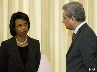 U S Secretary of State Condoleezza Rice with Pakistani Foreign Minister Shah Mehmood Qureshi in Islamabad
