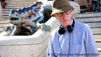 Regisseur Woody Allen am Set in Barcelona