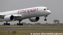 18.04.2017 In this photo released by the Nigeria State House Ethiopian airline airbus lands at the repaired runway at the Nnamdi Azikiwe International airport in Abuja. Nigeria's government says the international airport in its capital is reopening after six weeks of repairs to the runway, which experts had said was in shocking disrepair. Nigeria says the Abuja airport is opening Tuesday, a day ahead of schedule. (Sunday Aghaeze/Nigeria State House via AP) |