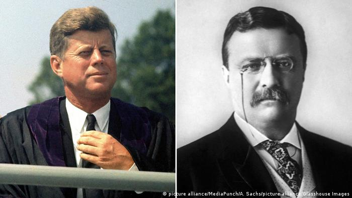 USA John F. Kennedy und Theodore Roosevelt (picture alliance/MediaPunch/A. Sachs/picture alliance/Glasshouse Images)