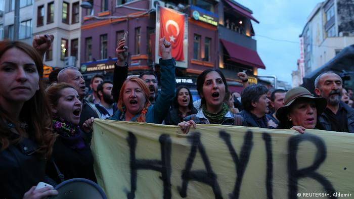 Anti-government demonstrators shout slogans during a protest in the Besiktas district (REUTERS/H. Aldemir)