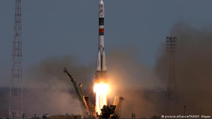 Запуск корабля Союз МС-04 с космодрома Байконур (фото из архива, апрель 2017 года)